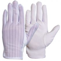 Antistatic gloves spotted with layer of PVC